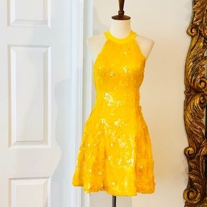 NASTY GAL YELLOW SEQUINED DRESS